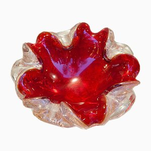 Murano Red and Silver Leaf Glass Bowl, 1960s
