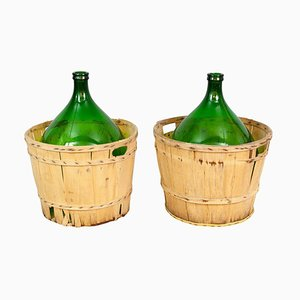 Large French Antique Emerald Green Demi-John and Wooden Basket Set