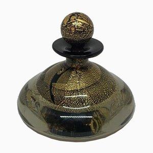 Maltesische Parfümflasche aus Glas in Schwarz & Gold, 1980er