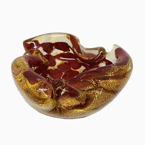 Italienische Murano Glasschale in Rot & Gold von Barovier und Toso, 1950er