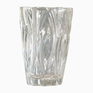 Small Vintage French Clear Glass Vase, 1970s