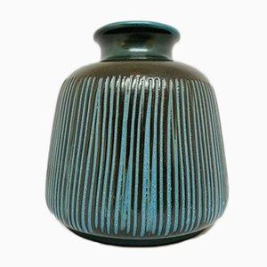 Deutsche Blau Gestreifte Troja Keramikvase von Ursula Fesca für Wächtersbach, 1950er
