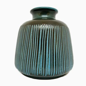 German Blue Striped Troja Ceramic Vase by Ursula Fesca for Wächtersbach, 1950s