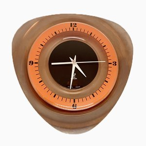 Stainless Steel and Orange Noxic Wall Clock from Jaz Transistor, 1970s