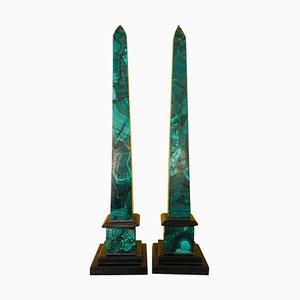 Russische Obelisken aus Malachit, 1970er, 2er Set