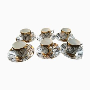 Porcelain Model Cameos Gold Cups & Saucers Set from Fornasetti, 1960s