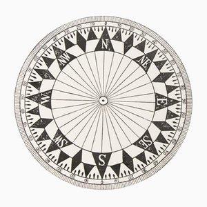 Schwarz-Weißer Kompass Teller von Timney Fowler, 1980er
