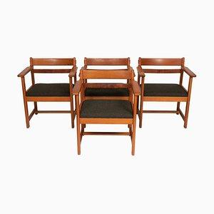 Armlehnstühle aus Kiefernholz, 1950er, 4er Set