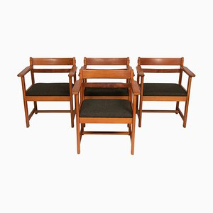 Pinewood Armchairs, 1950s, Set of 4