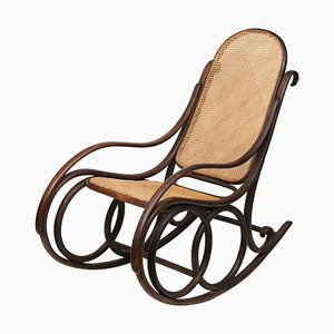 Rocking Chair Antique en Bois Courb