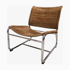 Swedish Chrome & Suede Lounge Chair, 1970s