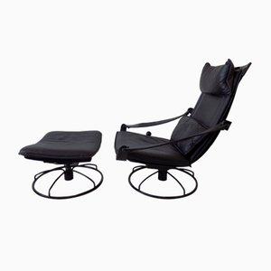 Leather Lounge Chair & Ottoman by Åke Fribytter for Nelo Möbel, 1970s, Set of 2