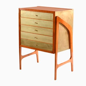 Italian Brass & Veneered Chest of Drawers, 1952