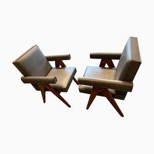 Commitee Stühle von Pierre Jeanneret, 1950er, 2er Set
