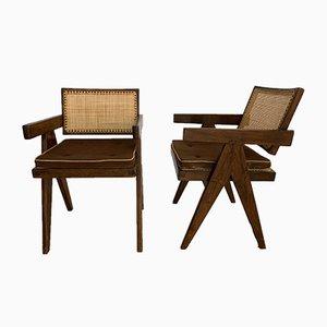 Schreibtischstühle von Pierre Jeanneret, 1950er, 2er Set
