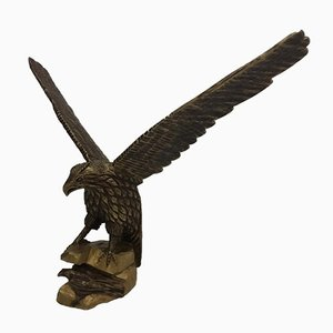 Art Deco German Wooden Eagle Sculpture, 1920s