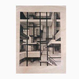 Kohlezeichnung von Architekt W. Schulze, 1960er