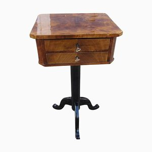 Biedermeier Walnut Veneer Sewing Table