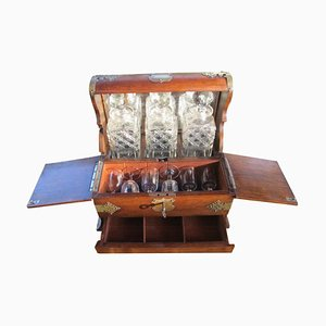 Antique Bar Table with Barware, 1900s
