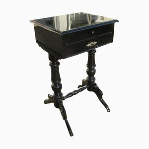 Black Lacquered Gründerzeit Sewing Table, 1890s