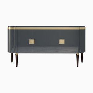 Grau Lackiertes und Messing Details Sideboard Hochglanz Design