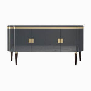 Gray Painted and Brass Details High Gloss Design Sideboard