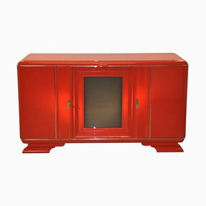 Rot Lackiertes Art Deco Buffet