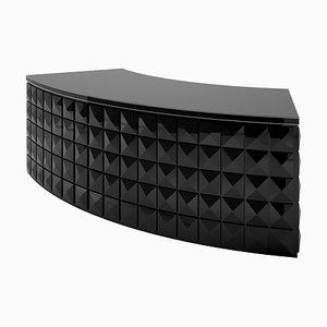 Schwarz Lackierter Schreibtisch mit Rautenmuster