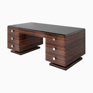 Schreibtisch aus Macassar im Art Deco Stil und Schreibtisch mit schwarzer Glasplatte
