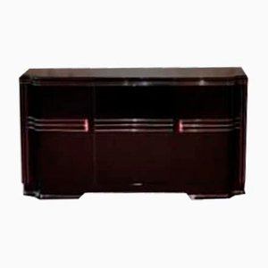 Vintage Art Deco Sideboard with Blackened Glass