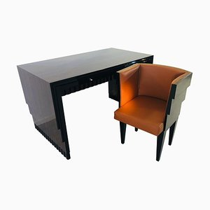 Art Deco Macassar Desk and Armchair Set, 1920s