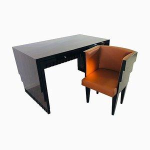 Art Deco Macassar Schreibtisch und Sessel Set, 1920er
