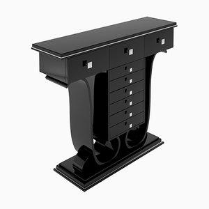 Schwarzer Art Deco Konsolentisch in Hochglanz-Optik