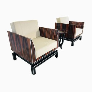 Art Deco Style Macassar & Piano Lacquer Armchairs, Set of 2