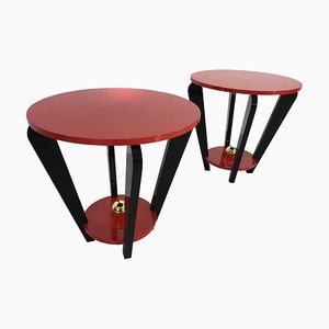 Art Deco Style Red and Black Side Tables, Set of 2