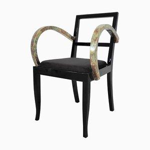 Französischer Art Deco Stuhl mit Bunten Blättern