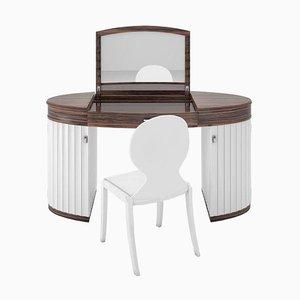 Weiß Glanz Frisiertisch und Stuhl Set