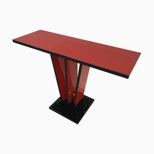 Art Deco Red and Black Console Table