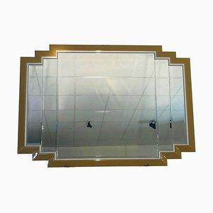 Großer Art Deco Spiegel in Gold und Silber
