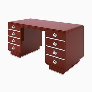 Roter Glossy Personalisierbarer Schreibtisch mit Chrom Akzenten