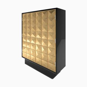 Diamond Pattern Gold Leaf and Piano Lacquer Cabinet