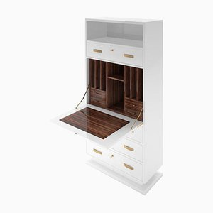 White Macassar Interior Design Secretary Cabinet