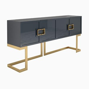 Gray and Polished Brass Sideboard Buffet