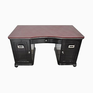 Art Deco Bordeaux Red Leather Plate Desk