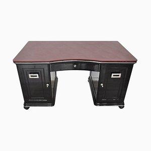 Art Deco Schreibtisch aus bordeauxrotem Lederblech