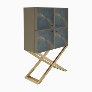 Square Brushed Brass Living Room Cabinet