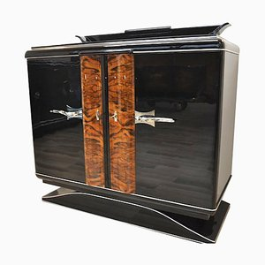 Art Deco Black Commode with Chrome Handles