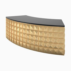 Gold Leaf & Piano Lacquer Curved Design Desk