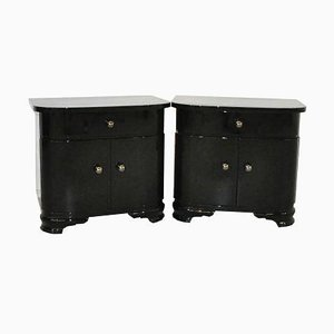 Art Deco Piano Lacquer Nightstands, Set of 2