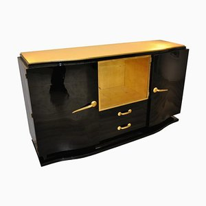 Art Deco Sideboard in Schwarz & Gold